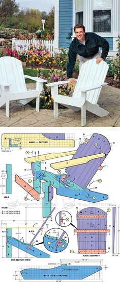 These Adirondack chair plans will help you build an outdoor furniture set that becomes the centerpiece of your backyard. It's a good thing that so many plastic patio chairs are designed to stack, and the aluminum ones fold up flat. Adirondack Chair Plans, Adirondack Furniture, Outdoor Furniture Plans, Woodworking Furniture Plans, Small Woodworking Projects, Backyard Furniture, Diy Wood Projects, Outdoor Projects, Diy Woodworking
