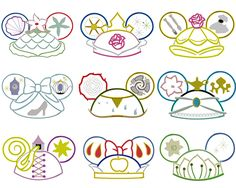 Machine Embroidery Projects Princess Ear Hat Ornament Set of NINE Machine Applique Embroidery Design Embroidery Software, Applique Embroidery Designs, Machine Embroidery Applique, Learn Embroidery, Embroidery Techniques, Hand Embroidery, Disney Applique Designs, Embroidery Ideas, Disney Crafts