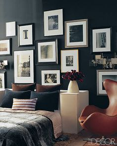 Back to Black: Black walls feel sensual and sophisticated and can give the illusion of receding walls. Breaking up the black with white accents.  Source: Elle Decor