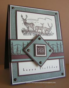Stamps: Noble Deer, It's Your Birthday,Canvas BG stamp Paper: Chocolate Chip, Sage Shadow, Very Vanilla Ink: Chocolate Chip Accessories: Twill ribbon, brads Tools: dimensionals, 1/16 punch