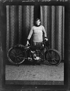 Speedway rider Tui Morgan with Harley-Davidson motorcycle, 1929
