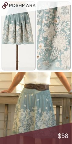 Sagebrush Skirt This beautiful embroidered skirt will bring you joy while wearing it! A minty safe color with white embroidery and wooden beads is the perfect piece for every spring/summer occasion. In excellent used condition  Anthropologie Skirts
