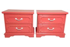 Coral Faux-Bamboo End Tables, Pair on OneKingsLane.com