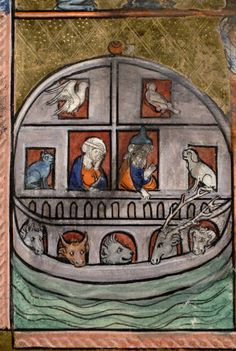 Medieval ark with Noah and wife, birds, cat and other animals