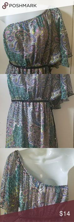 Susie Rose One Shoulder Dress Super cute Susie Rose dress. Size large 11/13, one shoulder, elastic top and waist with removable belt, inside is lined. Susie Rose Dresses One Shoulder