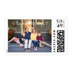 White Happiest Holidays Photo Postage