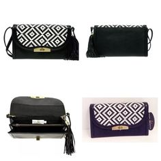 "Mary Frances Hold Me Clutch/Shoulder Bag Mary Frances Hold Me black and white woven print clutch/shoulder bag.  New with tags. Detachable, adjustable shoulder strap.  Woven print foldover flap with turn-lock closure.  Exterior features tassel accent.  Interior features 2 compartments and zip pocket.  7""H x 10""W x 1""D; 18"" strap drop.  No trades. Mary Frances Bags"