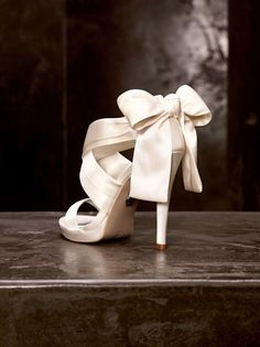 The Silky Material Large Ribbon Bow Above Heel Gives This A Dreamy Romantic Feel Ivory Color Would Make Great Wedding