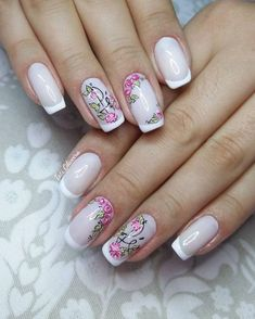 Unhas pretas decoradas, belas unhas decoradas, unhas enfeitadas, unhas ve. Natural Nail Designs, Beautiful Nail Designs, Beautiful Nail Art, Rose Nail Art, Rose Nails, French Acrylic Nails, French Nails, Manicure E Pedicure, Glam Nails