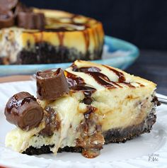 Rolo Cheesecake Recipe is a silky smooth, creamy cheesecake studded with caramel-filled chocolate candies and topped with chocolate and caramel sauce.