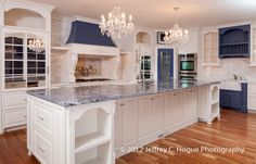 The Kitchen Cooktop Wall w/ mural China cabinet wall: Island . Kitchen Redo, New Kitchen, Kitchen Remodel, Kitchen Ideas, French Kitchen, Kitchen Inspiration, Kitchen Designs, Blue Granite Countertops, Granite Kitchen