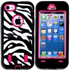 Amazon.com: myLife (TM) Hot Pink + Black + White Zebra Striped (Built In Screen Protector) Case for New Apple iPhone 5C Touch Phone (Full Bo...