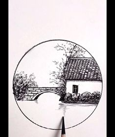 Art Drawings Beautiful, Art Drawings Sketches Simple, Pencil Art Drawings, Amazing Pencil Drawings, Sketch Pen Drawing, Easy Nature Drawings, Drawing Ideas, Landscape Pencil Drawings, Circle Drawing