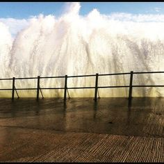 What a photo of the waves coming over The Prom in #tramore - sent to Ollie and Mary by Elaine Curran. #Waterford #seaside #welovewaterford #Waterfordlife