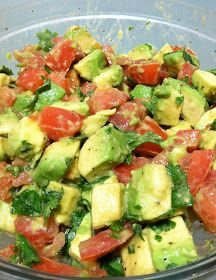 Avocado Tomato Salad:  2 ripe avocados 2 large ripe beefsteak tomatoes 2 Tbsp fresh lemon juice 3 Tbsp. chopped cilantro salt and pepper to taste Slice your avocado.   To create pretty chunks, cut in a criss-cross design.     Then pop out the pieces.   Cut your tomato in chunks as well.  Add lemon juice, cilantro, salt, and pepper. Stir and taste
