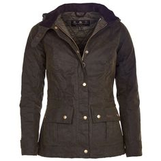 Barbour Women's Convoy Waxed Jacket - Inspired by the Barbour archive Ursula jacket, its attractive, yet practical styling has a feminine fit.  Draw-corded at both the waist and the hem, featuring generous utility pockets with bold brass stud closers. Featuring a practical, yet fashionable funnel collar with throat strap and a removable fleece-lined and draw-corded hood for when the weather take a turn for the worse.