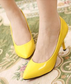 Pretty & Fashionable Pure-color High-heeled Shoes----Yellow