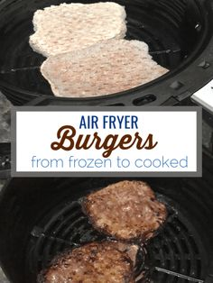 Air fryer burgers use the air fryer to cook frozen burger patties perfectly in 20 minutes. Air Fryer Burgers - This recipe use the air fryer to cook burger patties from frozen to cooked in minutes. Cooking A Frozen Turkey, Frozen Beef, Cooking Pumpkin, Frozen Chicken, Pumpkin Recipes, Frozen Burger Patties, Hamburger Patties, Grilling Frozen Burgers, Hamburger Sauce