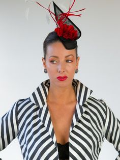 Shop the Cruella De Vil Black Fascinator at FORD MILLINERY. This black fascinator is finished with a white flower and feather. Kentucky Derby Race, Spring Racing Carnival, Black Fascinator, Red Feather, Millinery Hats, Red Silk, Headdress, Silk Flowers, Ford