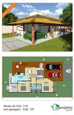 Esta é uma casa ótima para praia ou campo, mas que pode ser construída também na cidade.  Com colunas em madeira aparente que dá um visual muito atual.  Com dois quartos sendo um suíte, cozinha ampla, salas de estar e jantar conjugadas. mais garagem para dois carros, esta é uma ótima casa com ampla varanda.