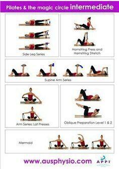 pilates exercises with magic circle Pilates Abs, Pilates Workout Routine, Pilates Training, Pilates Ring Exercises, Fitness Pilates, Pilates Chair, Band Exercises, Chair Yoga, Workout Plans