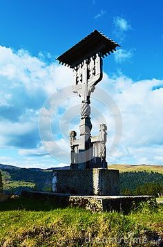 Wooden ortodox monument in Romania, Maramures region, Europe.
