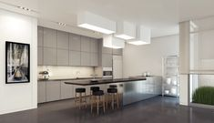 Stainless Steel Cabinets Design And Modern Kitchen Ceiling Lights Feat Cozy Leather Barstools Or Long Island Table Idea Apartment Interior Design, Kitchen Interior, Interior Decorating, Gray Interior, Interior Modern, Appartement Design, Kitchen Ceiling Lights, Style Deco, Kitchen Units