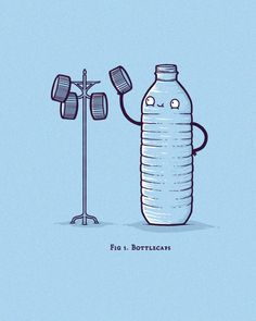 Bottlecaps by randyotter Cute Puns, Funny Puns, Funny Art, Funny Doodles, Funny Drawings, Funny Illustration, Humor Grafico, Funny Wallpapers, Cute Cartoon