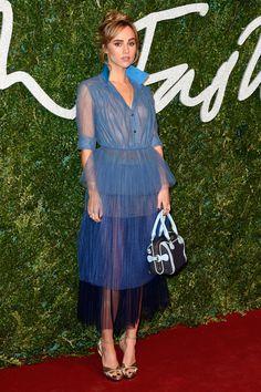Suki Waterhouse.. Burberry Prorsum Spring 2015 dress and purse..