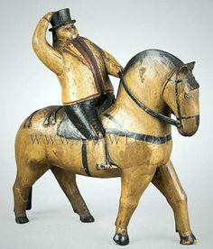 Antique Carved Man on Horseback, Original Paint, 19th Century.