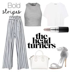 """""""Bold Stripes"""" by lolagar ❤ liked on Polyvore featuring Three Graces, Vince, T By Alexander Wang, Manolo Blahnik and MAC Cosmetics"""
