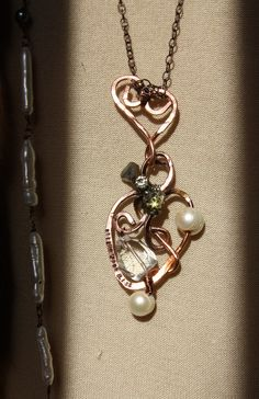 """True Love - hand formed, pearls, crystal quartz, vintage bling, """"follow your bliss"""" one of a kind necklace $135"""