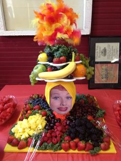 I Love Lucy Themed Fruit Platter with chocolate fountain