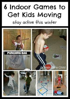6 Indoor Games to Get Kids Moving {Indoor Gross Motor Play}  Fun and simple activities to do with your kids to stay active when stuck indoors.