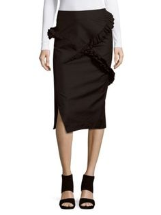 JIL SANDER Solid Cotton & Wool-Blend Pencil Skirt. #jilsander #cloth #skirt