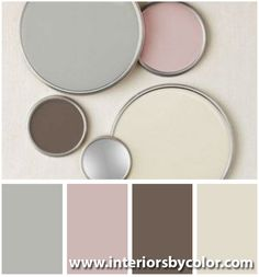 Easrth neutrals with pink http://www.interiorsbycolor.com/ House Color Schemes, Colour Schemes, House Colors, Bathroom Colors Gray, Tub Paint, Gray Color, Pink Color, Pink Grey, Beige Living Rooms