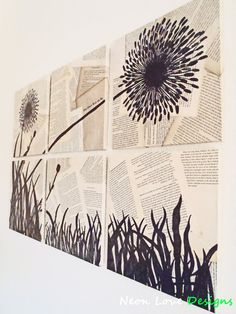 Hand Drawn Dandelion Silhouette Wall Art on by NeonLoveDesigns, $143.00