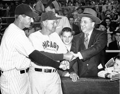 """Richard M. Daley, age 13, with his father, the first Mayor Richard J. Daley, in 1955. Shown with them are the managers of Chicago's baseball teams, the White Sox' Marty Marion, left, and the Cubs' Stan Hack. (From photogallery """"Chicago's defining moments: 1840-1963"""" trib.in/mVZ3Qp)"""