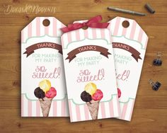Ice Cream Gift Tags, Ice Cream Favor Tag,  Ice Cream Birthday, Ice Cream Party, Ice Cream Printables, Thank You Tags, INSTANT DOWNLOAD WI017 by dreamONprints on Etsy