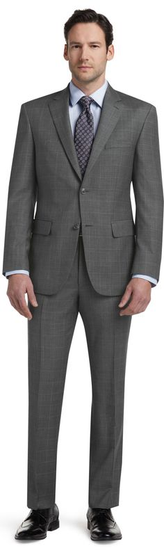 Signature Collection Tailored Fit Pindot Windowpane Suit - Big & Tall