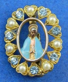 Blessed Mother Virgin Mary Pin Blue by QueeniesCollectibles, $9.99