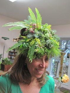 Karen's botanical headpiece, workshop at Holly Chapple's studio in VA,Françoise Weeks
