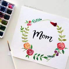 flowers, mom, and art image Bullet Journal Art, Bullet Journal Ideas Pages, Doodle Quotes, Halloween Doodle, Doodle Lettering, Handmade Birthday Cards, Watercolor Cards, Diy Cards, Design Crafts