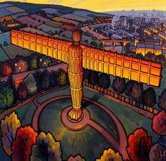 Fabulous Antony Gormley statue - Angel of the North by Jim Edwards Landscape Illustration, Landscape Art, Illustration Styles, Landscape Paintings, Illustrations, Detective, Farne Islands, Angel Of The North, Art For Art Sake