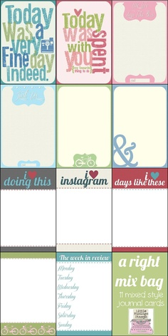 Sj's - Little Musings: A right mix bag - printable project life cards