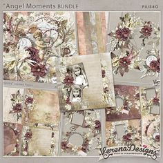 Angel Moments BUNDLE by Verena Designs at GoDigitalScrapbooking.com. Kit includes total 58 beautiful elements in png-files 300dpi and 14 great papers in jpg-files 300dpi.