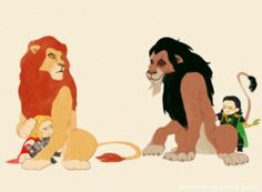 Mufasa and Scar with Thor and Loki