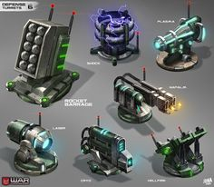 War Commander--Defense Turrets by on deviantART Fallout Concept Art, Robot Concept Art, Weapon Concept Art, Environment Concept Art, Sci Fi Weapons, Fantasy Weapons, Terrain 40k, Gun Turret, Future Weapons