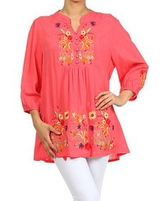 Another great find on #zulily! Coral Garden Embroidered Button-Front Tunic #zulilyfinds