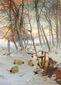 On a Clear Eve When the November Sky Grew Red - Joseph Farquharson, 1899
